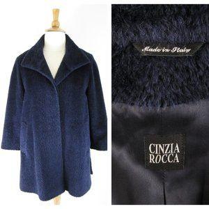 Cinzia Rocca Navy Alpaca And Wool Parka Top Coat
